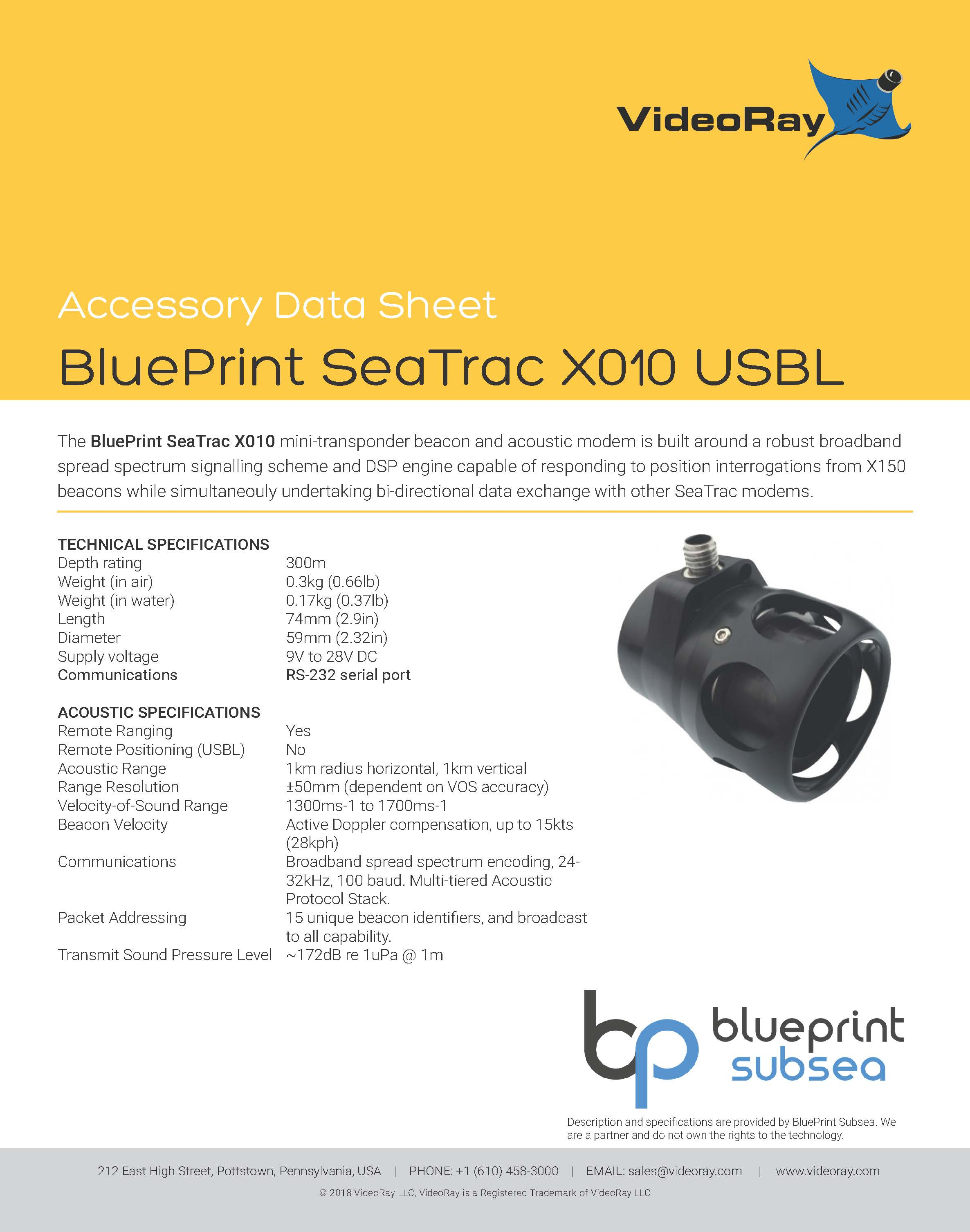 2019 BLUEPRINT SEATRAC X010 USBL